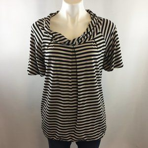 St John Black & Beige Striped Cowl Neck Top